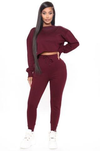 WOMEN Looking For You Jogger Set - Burgundy