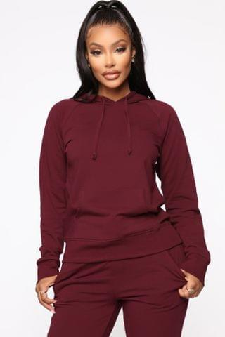 WOMEN Latest And Greatest French Terry Hoodie - Burgundy