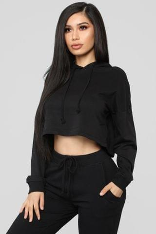WOMEN Latest And Greatest French Terry Crop Hoodie - Black