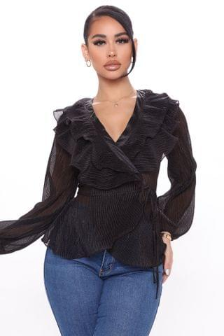 WOMEN The Ruffle Effect Wrap Top - Black