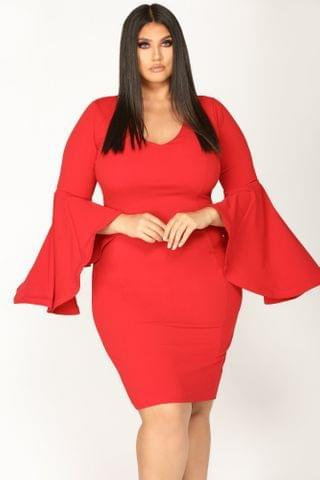 WOMEN Take Your Lady Out Midi Dress - Red