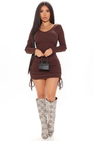 WOMEN Ready To Go Ruched Long Sleeve Mini Dress - Brown