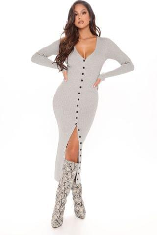 WOMEN It's Cold Sweater Midi Dress - Heather Grey