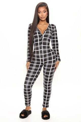 WOMEN Plaidly Yours PJ Jumpsuit Onesie - Black/White