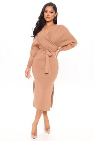 WOMEN Wrapped All Around Me Midi Sweater Dress - Taupe