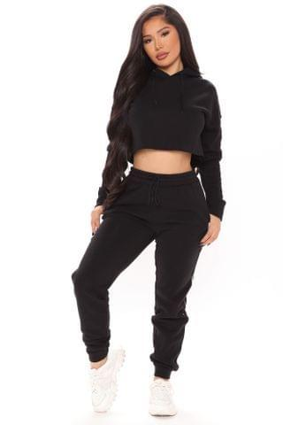 WOMEN Out Of Line Hoodie And Jogger Set - Black