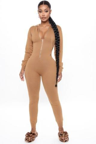 WOMEN Meet Me At The Mall Sweater Jumpsuit - Camel