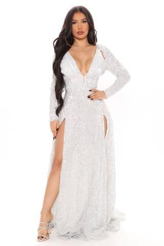 WOMEN Vienna Mini Sequin Maxi Dress - White