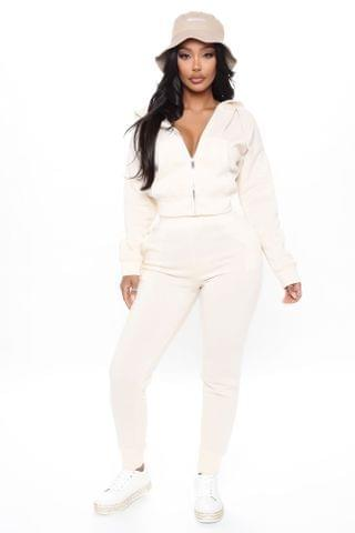 WOMEN I Got This Zip Up Jacket And Jogger Set - Off White