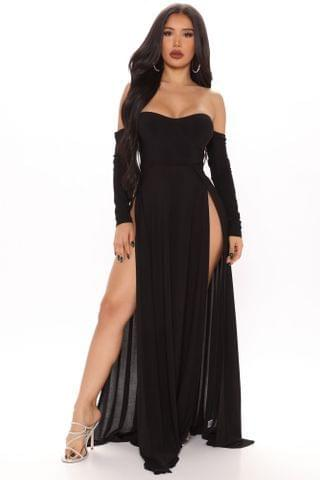 WOMEN Elegantly Fab Off Shoulder Maxi Dress - Black