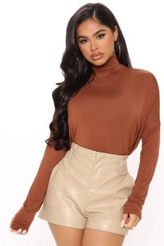 WOMEN Feels Like Autumn High Neck Top - Brown