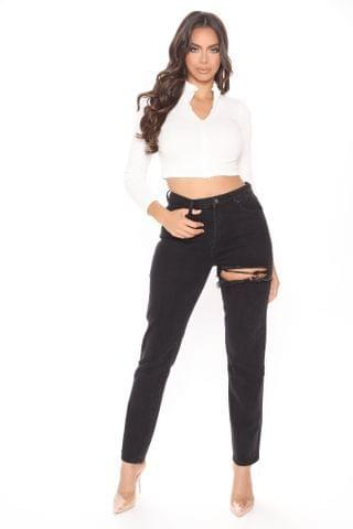 WOMEN Tall Jaydon Ripped Mom Jeans - Black