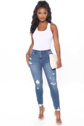 WOMEN Tina Distressed Ankle Jeans - Medium Blue Wash