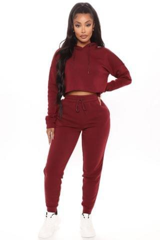WOMEN Out Of Line Hoodie And Jogger Set - Burgundy