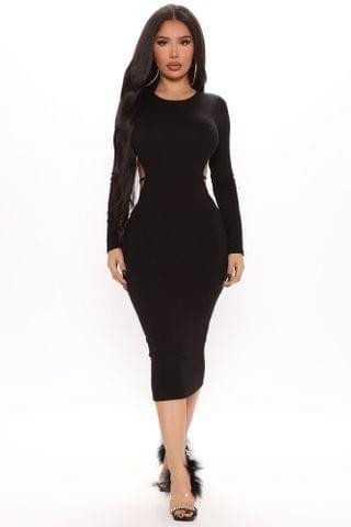 WOMEN Showing Off Backless Midi Dress - Black