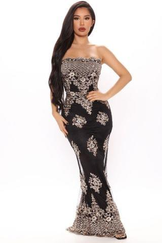 WOMEN Elegant Feel Maxi Dress - Black/Gold