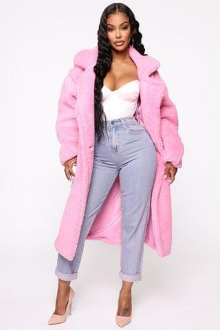 WOMEN Covered Grounds Faux Fur Coat - Pink