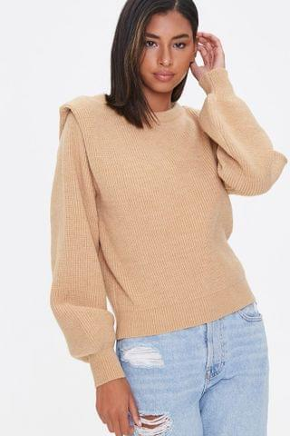 WOMEN Ribbed Shoulder-Pad Sweater