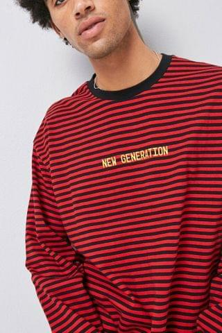 MEN New Generation Embroidered Striped Tee