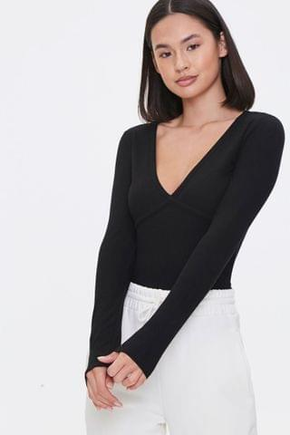 WOMEN Ribbed Long-Sleeve Top