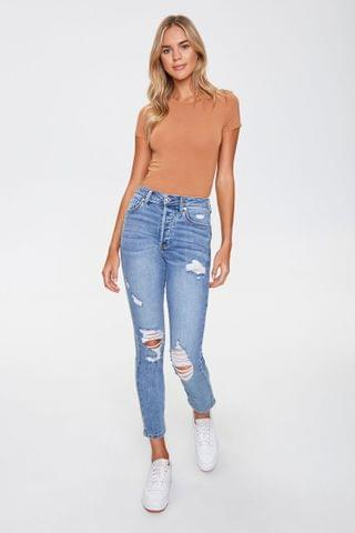 WOMEN Distressed Mom Jeans