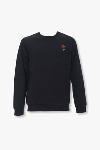 MEN Rose Embroidered Graphic Pocket Pullover