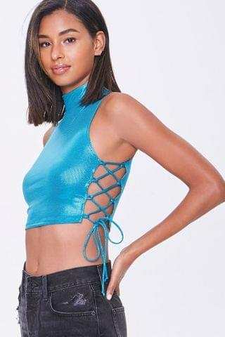 WOMEN Metallic Lace-Up Crop Top