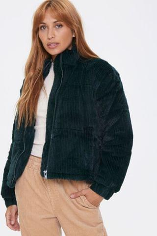WOMEN Plush Quilted Puffer Jacket