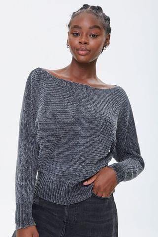 WOMEN Ribbed Batwing-Sleeve Sweater