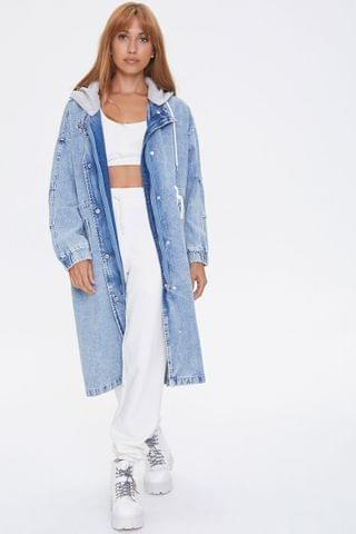 WOMEN Hooded Denim Trench Coat