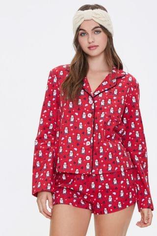 WOMEN Ski Bear Print Pajama Set