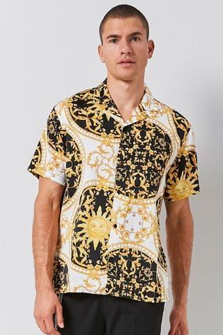 MEN Classic Fit Ornate Celestial Print Shirt
