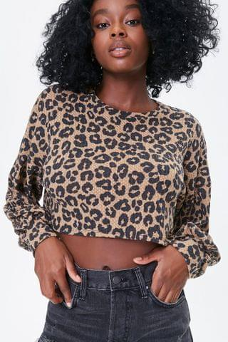 WOMEN Leopard Print Crop Top