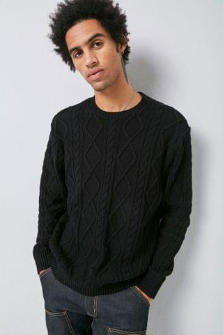 MEN Cable-Knit Crew Neck Sweater