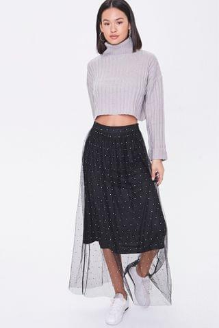 WOMEN Faux Gem Mesh Midi Skirt