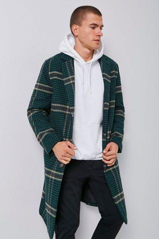 MEN Glen Plaid Longline Coat
