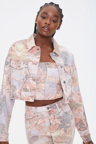 WOMEN Renaissance Art Print Denim Jacket