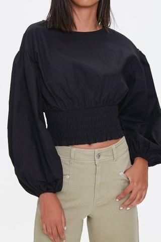 WOMEN Smocked Balloon-Sleeve Top