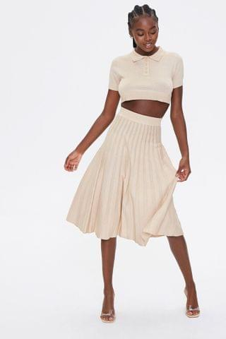 WOMEN Collared Crop Top & Knee-Length Skirt Set