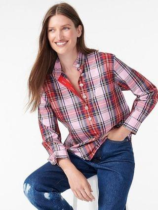 WOMEN Band-collar popover tunic in pink Stewart tartan