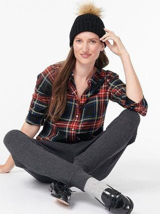 WOMEN Classic-fit boy shirt in black Stewart tartan flannel