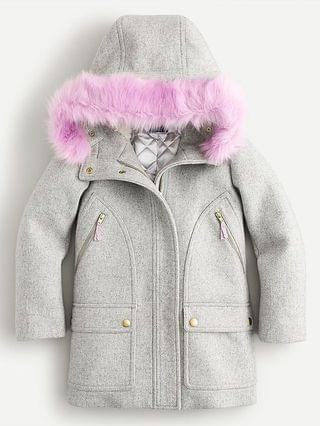KIDS Girls' wool chateau coat with eco-friendly Primaloft