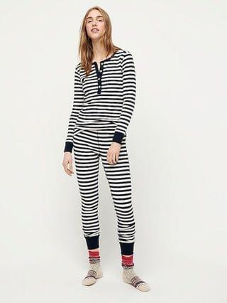 WOMEN Henley waffle pajama set in stripes