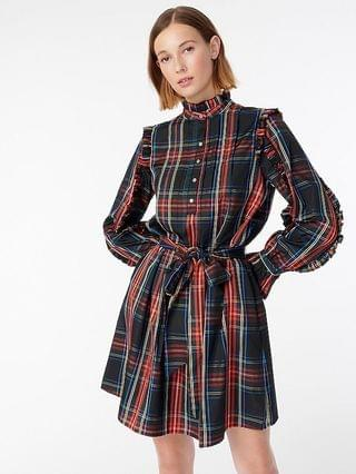 WOMEN Belted ruffle dress in black Stewart tartan