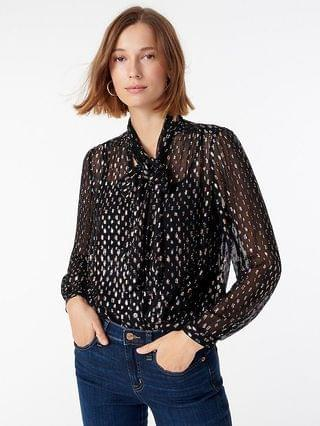 WOMEN Tie-neck blouse with rainbow Lurex dot