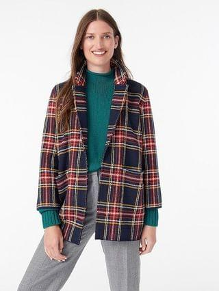 WOMEN Sophie open-front sweater-blazer in black Stewart tartan