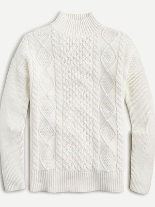 WOMEN Mockneck cable-knit sweater