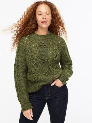 WOMEN Cable-knit pointelle sweater with popcorn flowers