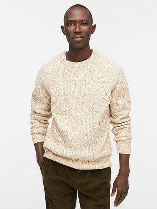 MEN Rugged merino wool-blend donegal cable-knit crewneck sweater