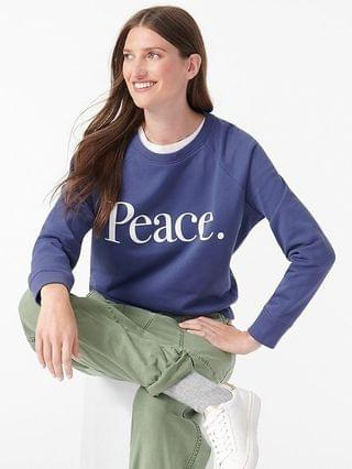 "WOMEN ""Peace"" sweatshirt in original cotton terry"